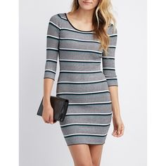 Charlotte Russe Striped & Ribbed Knit Bodycon Sweater Dress (26 CAD) ❤ liked on Polyvore featuring dresses, multi, three quarter sleeve dress, scoop-neck dresses, stretch dresses, sweater dress and mid length bodycon dresses