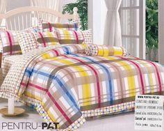 Lenjerie de pat bumbac Casa New Fashion pentru o persoana cu patratele si dungi