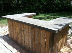 Concrete bar top on my outdoor bar