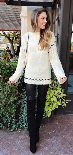 #winter #outfits white knit sweater and black leather pants