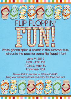 Pool party invitation flip flops by decidedlydigital 15 00 usd via
