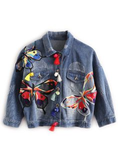 Denim As Picture Short Long Sleeve Collar Coats & Jackets