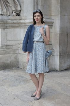 Paris Couture Street Style: Gauzy Summer Dresses in the Pale Blue Hues are Everywhere