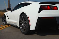"""Power Automedia's Project """"C700"""" Corvette Stingray is equipped with a ProCharger blower, Billy Boat Performance Exhaust, LG Motorsports drop spindles & sway bars, and Nitto Tires on Forgeline 1pc forged monoblock GA1R wheels finished in Hyper Silver! See more at: http://www.forgeline.com/customer_gallery_view.php?cvk=1600 #Forgeline #forged #monoblock #GA1R #notjustanotherprettywheel #madeinUSA #Chevrolet #Corvette #C7 #C700 #Chevy #forgedwheels"""
