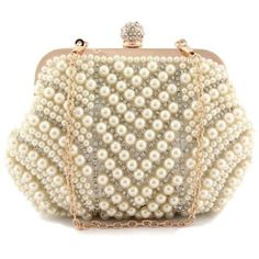 Cream Pearl and Rhinestone Crystal Bridal Purse Clutch Bag ($39) ❤ liked on Polyvore featuring bags, handbags, clutches, rhinestone handbags purses, hand bags, brown handbags, handbags clutches and bridal handbags