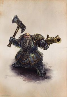 m Dwarf Fighter Hvy Armor Battle Axe Pistol Ironbreaker Ilich Henriquez by Ilacha Fantasy Races, Fantasy Armor, Medieval Fantasy, Dungeons And Dragons Characters, Dnd Characters, Fantasy Characters, Fantasy Portraits, Character Portraits, Fantasy Character Design