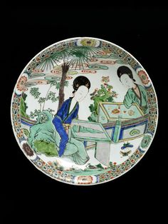 Dish, porcelain painted with overglaze enamels in the famille verte palette; China (Jingdezhen), Qing dynasty, Kangxi period (1662-1722)