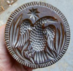 "19th C. American Eagle & Star butter print in rare Cherry!  Good condition with clear detail. 4-1/8"" in diameter and 3"" high. Sold 10/18/14 on ebay for $422."