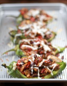 Chicken Stuffed Poblano Chilies with Mushrooms and Tomatoes, from Sass & Veracity