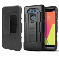 LG V20 Case, GreenElec Heavy Duty Rugged Combo Dual Layers [Kickstand] Full Body Protection Swivel Locking Holster Belt Clip Cover Case for LG V20
