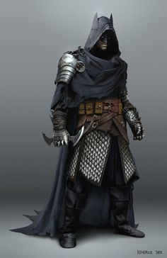 Medieval Batman by SourShade rogue assassin thief dark knight fighter cloak mask hood hooded armor clothes clothing fashion player character npc | Create your own roleplaying game material w/ RPG Bard: www.rpgbard.com | Writing inspiration for Dungeons and Dragons DND D&D Pathfinder PFRPG Warhammer 40k Star Wars Shadowrun Call of Cthulhu Lord of the Rings LoTR + d20 fantasy science fiction scifi horror design | Not Trusty Sword art: click artwork for source