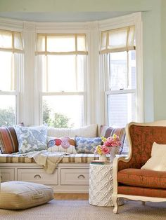 Perfect window seat set into a Bay Window.  Can I curl up and read a book here please?