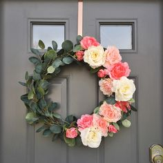 Pink Peonies, Ivory Roses & Eucalyptus Wreath on 18 inch grapevine