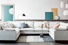 Build Your Own Harmony Sectional at West Elm, Starting at $5,296            Just a pretty, airy u-shaped option that also comes in a deeper seat width.