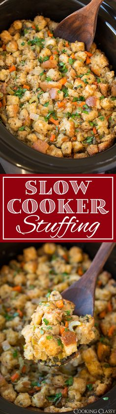 Slow Cooker Stuffing - This has been my go-to stuffing recipe for years! Always a crowd pleaser! Definitely dry your own bread cubes, tastes better and has a better texture. You can also add sausage or mushrooms to this. dinner ideas for christmas Crock Pot Slow Cooker, Crock Pot Cooking, Slow Cooker Recipes, Crockpot Recipes, Cooking Recipes, Apple Recipes, Healthy Recipes, Stuffing Recipes For Thanksgiving, Thanksgiving Menu