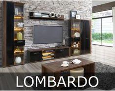Kolekcja Lombardo to piękne i eleganckie meble w nowoczesnej stylistyce. Korpusy mebli zrobiono i w dekorze orzech columbia. Na frontach użyto czerni o wysokim połysku, a całość wykończono podłużnymi, niewielkimi uchwytami w kolorze szarym. Columbia, Flat Screen, Furniture, Design, Home Decor, Blood Plasma, Decoration Home, Room Decor