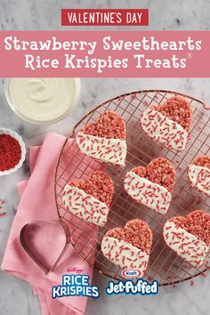 Show your love with these treats made using Kellogg's® Strawberry Krispies® cereal. Each scrumptious heart is partially coated with easy-to-use candy melts. Festive sprinkles add the finishing touch. Valentine Desserts, Valentine Cookies, Valentines Day Treats, Holiday Treats, Holiday Recipes, Kids Valentines, Holiday Desserts, Just Desserts, Delicious Desserts