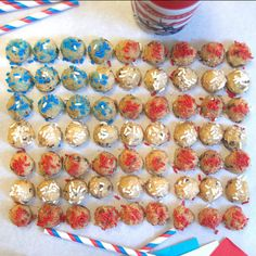 I pledge allegiance to the flag....with liberty and DŌ for all! #cookiedoughbites #sprinkles #funsize #bitesize #treats #dessert #america #flags #celebrate #partyideas #starsandstripes