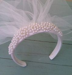 INA First Communion Veil with Pearl Headband by anniee82 on Etsy, $26.00