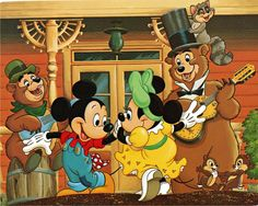 WOW the Country Bears entertaining Mickey and Minnie ... Chip and Dale