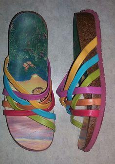 Think! Women's Pink/Multi Colored Slide Sandals Sz 39  8-8.5 #Think #Slides…