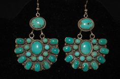 Large Vintage Navajo Sterling and Carico Lake Turquoise Cluster Earrings - Hallmmarked