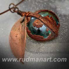 Necklace. Copper Preserved Nature - Unique Technology - Misty Rust Patina Copper Necklace - eco jewelry