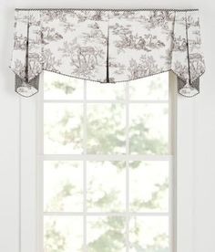 Pastoral French Country themes are elegantly played out on our Toile. (Country Curtains Lenoxdale Toile Lined Ascot Pleated Valance) French Living Rooms, French Country Living Room, French Country Decorating, Valance Window Treatments, French Country Kitchens, Office Nook, Country Curtains, Drapes Curtains, Valances
