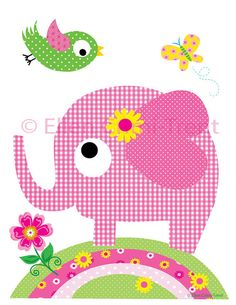Items similar to baby girl nursery art-Kids Wall Art-Girl animals set- Nursery Decor on Etsy Applique Templates, Applique Patterns, Applique Designs, Quilt Patterns, Sewing Appliques, Elephant Quilt, Elephant Crafts, Cute Elephant, Bird Applique