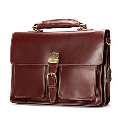 Leathario Mens Geunie Leather Briefcase Laptop Tote Bags Business Office Bag (Brown). Retro Genuine Leather Briefcase. Easy to take office supplies and Suitable for business trip; It Is Also Can Be As A Wonderful And Practical Gift Or Present For Valentine'S Day, Father'S Day, Teachers' Day, Thanksgiving, Christmas, Birthday Or Almost Any Other Occasion. 100% Leather. Environmental friendly material, Vegetable tanned leather. Durable and smooth Brass zipper. Dacron Lining. Detachable…