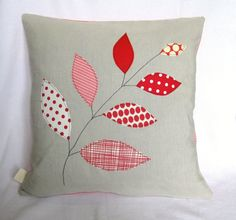 "Cushion pillow cover, red leaves on a branch, free motion embroidery, linen, 16"" / 40cm."