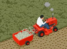 John Holcroft editorial and conceptual illustrator. About  deforestation and greed.