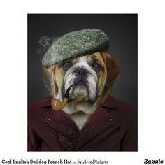 Cool English Bulldog French Hat Pipe Jacket Poster