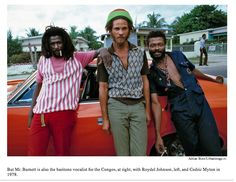 But Mr. Burnett is also the baritone vocalist for the Congos, at right, with Roydel Johnson, left, and Cedric Myton in 1978.    image source: Adrian Boot/Urbanimage.tv.    #reggae, #Congos