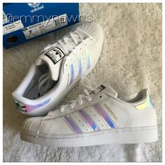 2c9d4165eb Sold Adidas Superstars Metallic Iridescent Stripes New adidas superstars  girls grade school trainers in iridescent stripes