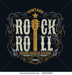vintage rock and roll typographic for t-shirt ,tee design,poster,vector illustration - stock vector