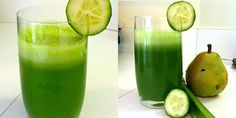 Celery, Cucumber, & Pear Green Juice    Ingredients:  1 medium cucumber  3 celery stalks  1 1/2 small to medium pears  3 handfuls kale    Directions  1.) Rinse all ingredients    2.) Add ingredients through juicer.    3.) Serve and enjoy!