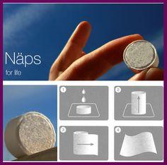 NAPS. Suaves toallitas comprimidas que le permitirán utilizarlas de muchas maneras.  Es un producto novedoso que da un valor añadido a su negocio, con un toque de originalidad que le diferencie de la competencia.