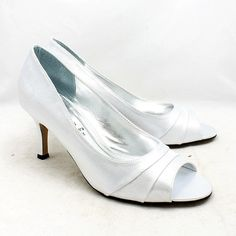 Satin 'romantic' mid kitten heel peep toe shoes | Peep toe shoes ...