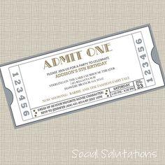 Printable Movie Ticket Party Invitation