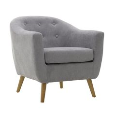 Barker Button Back Silver Grey Chenille Tub chair. A Modern Tub Chair with a classic design, upholstered in Silver Grey Chenille and Oak legs