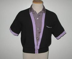 Vintage 1950s Shirt / 50s Black And Purple Shirt / 50s Black Gingham Checked Shirt By Clubman Sportswear- S, M by SayItWithVintage on Etsy