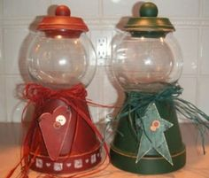 Rustic christmas - love these for candy jars on the mantle! Made using terra cotta pots and a glass bowl.