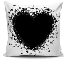 Almofada Decorativa Coração Musical