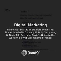 """#Yahoo! was started at Stanford University. It was founded in January 1994 by Jerry Yang and David Filo Jerry and David's Guide to the World Wide Web was renamed """"Yahoo! #HistoryofDigitalMarketing"""