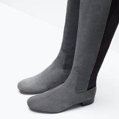 ZARA - WOMAN - Grey leather boots. The shaft combines a suede front with a rear stretch panel. Shaft height 49cm. Heel height 3 cm.