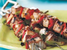 Zesty Swordfish Kebabs | Happy grilling season. We've handpicked our best seafood grilling recipes to prep you for a summer full of outdoor festivities. This list includes shrimp, salmon, trout, tuna, bass, halibut, oysters, clams- you name it. Now that you're fully-equipped, it's time to fire up the grill and put these 44 recipes to the test. We promise they won't disappoint.