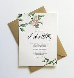 Botanical  Blossom Wedding Invitation Printable, Apple blossom invitation, Spring floral invitation, Botanic blossom invitation Printable