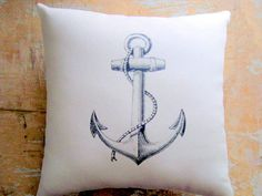 Nautical Pillow Anchor Ocean Beach Decor by parismarketplace, $18.00  Click the picture to go to the listing!