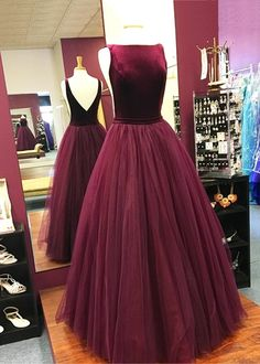 Burgundy prom dress, halter prom dress, ball gown 2017